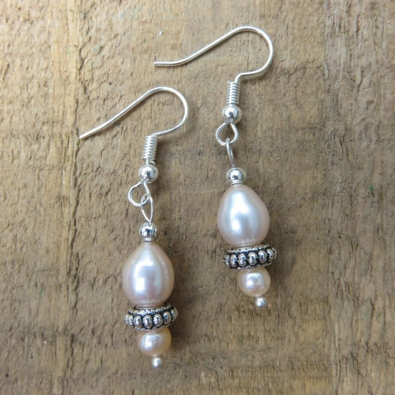 Peach Coloured Freshwater Pearls Silver-plated Earrings