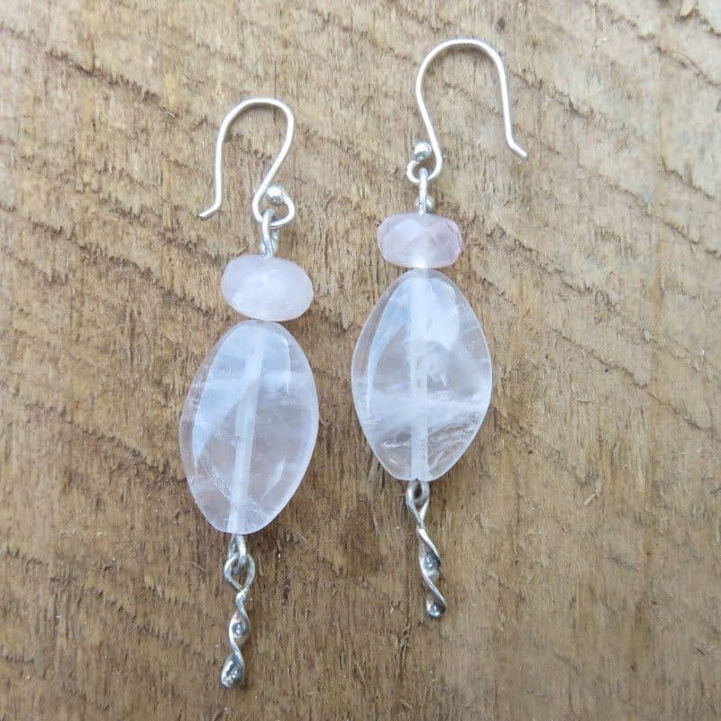 Rose Quartz with Sterling Silver Earrings