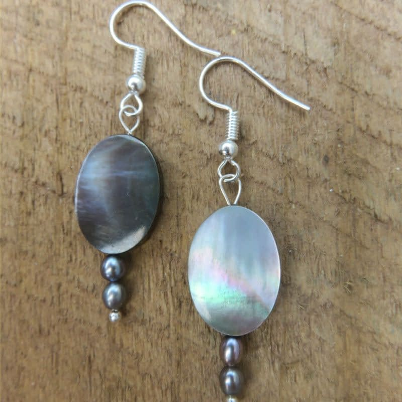 Mother of Pearl & Pearl with Silver-plated Metal Earrings